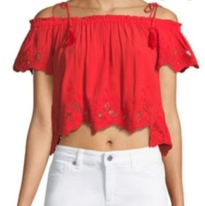 ASTR Red off the shoulder hem cropped peasant top